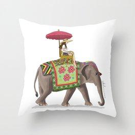 Woman on Elephant Throw Pillow