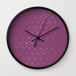 Gold Cubes 4 Wall Clock