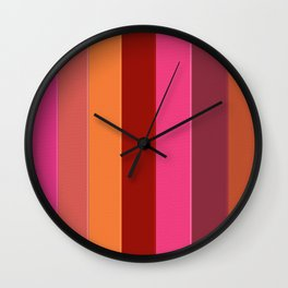 Modern girly pink fashion color block stripes Wall Clock