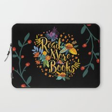 Read More Books - Black Floral Gold Laptop Sleeve