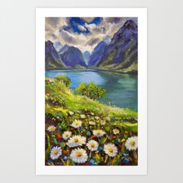 Shore of flowers on lake in mountains - original oil painting by Rybakow Art Print