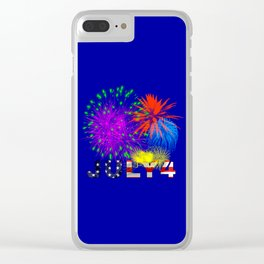 America 4th of July Fireworks Clear iPhone Case