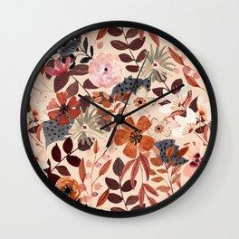 Kaitlyn Watercolor Floral No. 3 Wall Clock