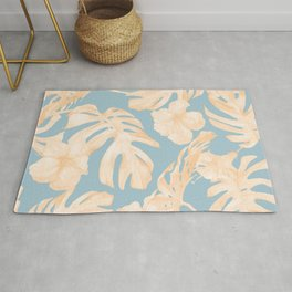 Island Vacation Hibiscus Palm Coral Sky Blue Rug