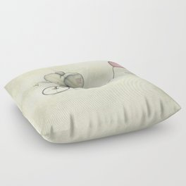 Cute Elephant riding his bike Floor Pillow