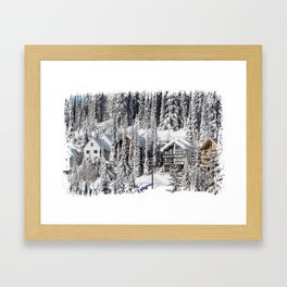 Winter Retreat - Mountain Resort Framed Art Print