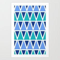Tribal Pattern - Blue Art Print