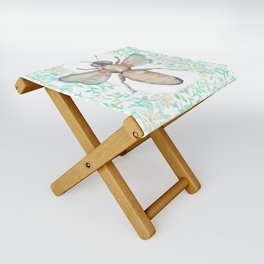 Garden Bee and Blooming Flowers Folding Stool