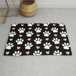 Dog Paws, Traces, Animal Paws, Hearts - Pink Black Rug