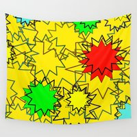 yellow pattern Wall Tapestries featuring Yellow pattern  by Vivian Fortunato
