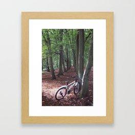 Bike in the woodland Framed Art Print