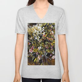 Yellow and Pink Bouquet of Flowes Unisex V-Neck