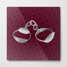 Cutlery Handcuffs Metal Print