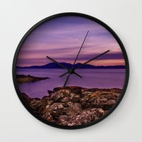 west coast Wall Clocks featuring West Coast Goodnight by Paul & Fe Photography