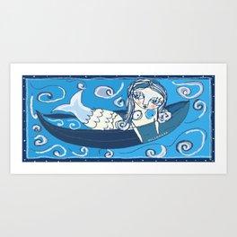 Mermaid in blue Art Print