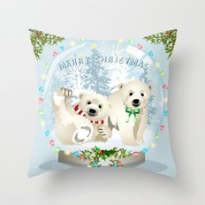 Snow globe bears Throw Pillow