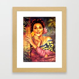 Jesus Helguera Painting of a Mexican Girl Beside Rattan Curtain Framed Art Print