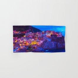 Manarola Cinque Terre Italy at Night Hand & Bath Towel