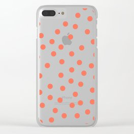 Simply Dots in Deep Coral on White Clear iPhone Case
