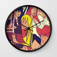 kill bill Wall Clocks featuring Kill Bill by Ale Giorgini