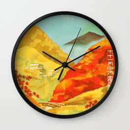 Vintage Travel Painting Poster Japan 1930s Wall Clock