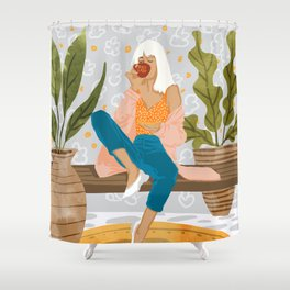 Boss Lady #illustration #painting Shower Curtain