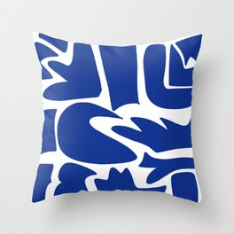 Blue shapes on white background Throw Pillow