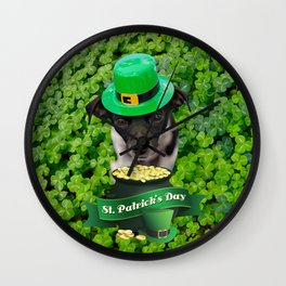 St. Patricks Day Dog Wall Clock