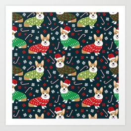 Corgi christmas sweater ugly sweater party with welsh corgis dog lovers dream christmas Kunstdrucke