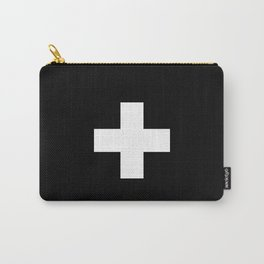 Swiss Cross Black and White Scandinavian Design for minimalism home room wall decor art apartment Carry-All Pouch