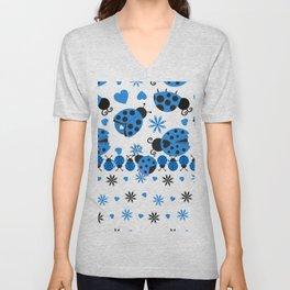 Cute Ladybugs blue Unisex V-Neck