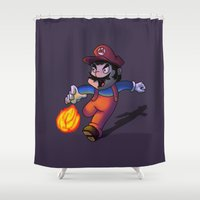 mario Shower Curtains featuring Mario by DROIDMONKEY