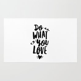Do What You Love black and white modern typographic quote poster canvas wall art home decor Rug