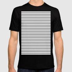 Horizontal Lines (Black/White) MEDIUM Mens Fitted Tee Black