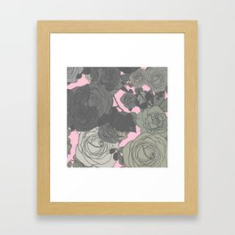 Muted Contemporary Abstract Gray Roses Over Pink Background Framed Art Print