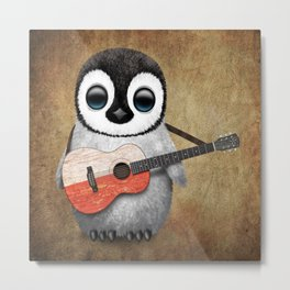Baby Penguin Playing Polish Flag Acoustic Guitar Metal Print