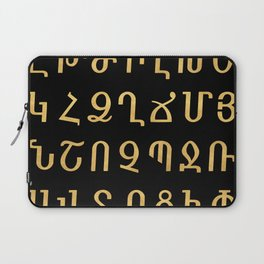 ARMENIAN ALPHABET - Black and Gold Laptop Sleeve