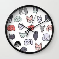puppies Wall Clocks featuring Pastel Puppies by Elisa Mac