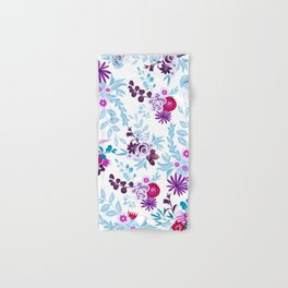 Abstract pastel blue pink country flowers pattern Hand & Bath Towel