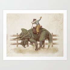 Dino Rodeo  Art Print