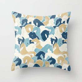 Playing Horses II Throw Pillow