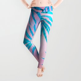 Refreshing Geometric Palm Tree Leaves Tropical Chill Design Leggings