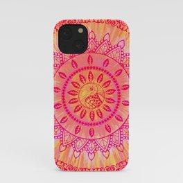Mandala Orange Pink Spiritual Zen Hippie Bohemian Yoga Mantra Meditation iPhone Case