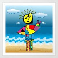 surfer Art Prints featuring Surfer by Moisés Ferreira