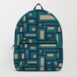 Modern Geometric Blocks in Teal, Tan on Navy Blue Backpack