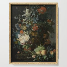 Jan van Huysum - Still life with flowers and fruits (1721) Serving Tray