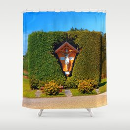 Jesus, a cross and a trimmed bush Shower Curtain