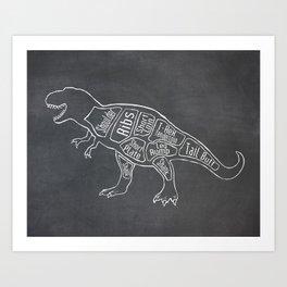 Tyrannosaurus, Rex Dinosaur (A.K.A. T REX) Butcher Meat Diagram Art Print
