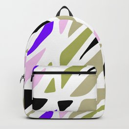 Hand painted abstract pink violet green geometric pattern Backpack