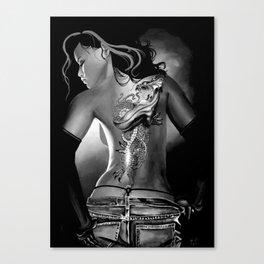 Tattoo Black and White Canvas Print